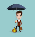 a businessman with beard standing holding umbrella vector image vector image