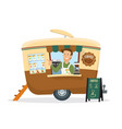 a young man selling coffee on the drink trailer vector image
