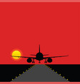 airplane landing on the runway with bulbs vector image vector image