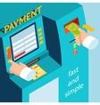 ATM terminal payment cash vector image