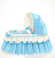 Baby in blue cradle isolated on white background vector image