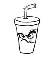 black and white angry freehand drawn cartoon soda vector image vector image