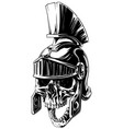 black and white human skull in roman helmet vector image vector image