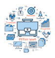 blue round office work concept vector image