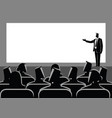 businessman giving a presentation on big screen vector image