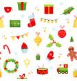 christmas gifts xmas cartoon flat objects new vector image