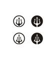 circular trident neptune god poseidon triton logo vector image vector image