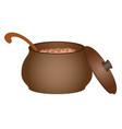 clay pot with porridge vector image