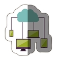 color sticker with cloud service network vector image vector image