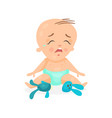 cute cartoon baby sitting on the floor and crying vector image vector image