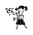 cute little girl blowing bubbles vector image