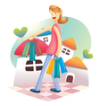 cute shopping girl vector image