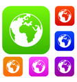 earth globe set collection vector image vector image