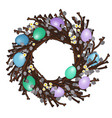 easter wreath with colorful eggs vector image vector image