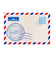envelope with valence italy postmark vector image vector image
