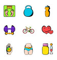 exercise icons set cartoon style vector image vector image