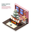family christmas holiday isometric composition vector image vector image
