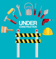 fence with under construction equipment vector image