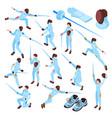 fencing sport isometric set vector image