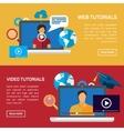 flat education training online tutorial e vector image vector image
