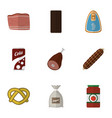 flat icon meal set of smoked sausage meat vector image vector image