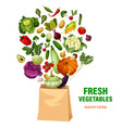 fresh vegetables and shopping bag healthy eating vector image vector image