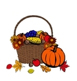 fruits and vegetables in basket vector image vector image