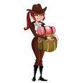 Girl-Scout-with-a-backpack vector image vector image