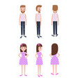 guy in casual clothes and girl in polka-dot dress vector image vector image