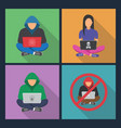 hacker iconshacker with laptop hacking vector image