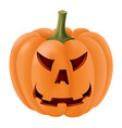 halloween pumpkin with angry face carving vector image