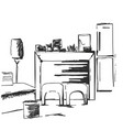 hand drawn room interior reading place sketch vector image vector image