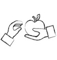 hand with apple fresh vector image