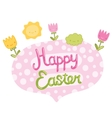 Happy Easter bubble speech with flowers vector image vector image