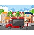 man and red truck in the neighborhood vector image