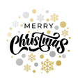 merry christmas lettering with golden silver vector image vector image