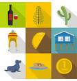 mexican world icons set flat style vector image