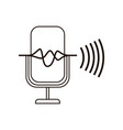 microphone with sound wave isolated icon vector image