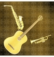 Musical background guitar saxophone and trumpet vector image vector image