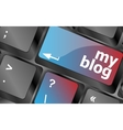 My blog button on the keyboard key close-up vector image vector image