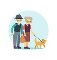 old couple walking with cute dog eldery family vector image vector image