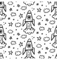 outer space travel seamless pattern vector image