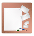 Pencil and Eraser Lying on A Blank Page vector image vector image
