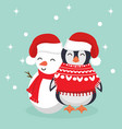 penguin in winter clothes with snowman vector image vector image