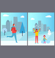 people cityscape collection vector image