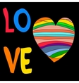 Rainbow heart with the inscription love vector image vector image