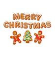 set christmas gingerbread cookies merry vector image vector image