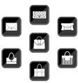 Set of black icons with bags vector image