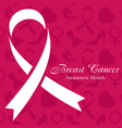 shape of cancer ribbon on pink background vector image vector image