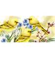 spring card watercolor with cute birds and vector image vector image